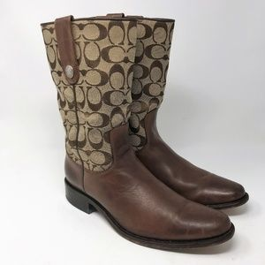 RARE Coach Brown Leather Cowboy Boots 10 M